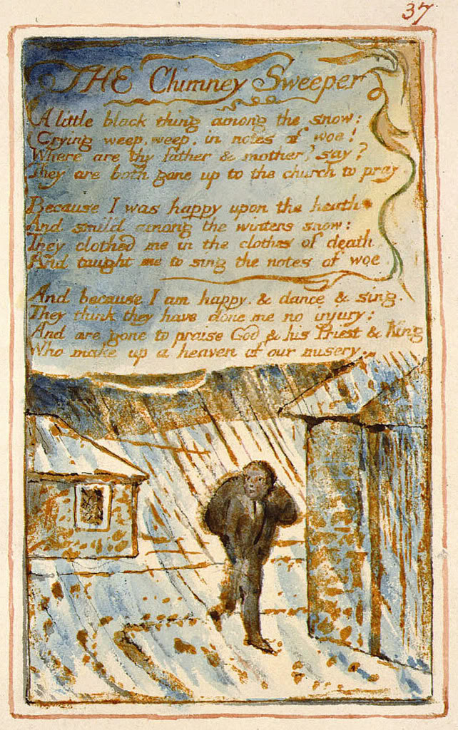 william blakes chimney sweeper Blake's painting of the chimney sweeper, via the blake archive structure the poem comprises six quatrains, that is four-lined stanzas the metrical rhythm is broadly anapaests, that is, each metrical foot is made up of two unstressed syllables followed by.